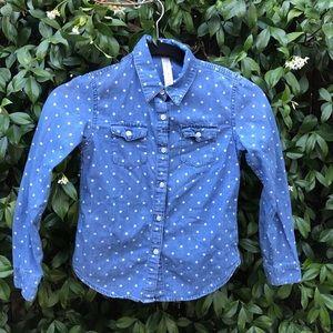 Kids polka dot denim button up shirt